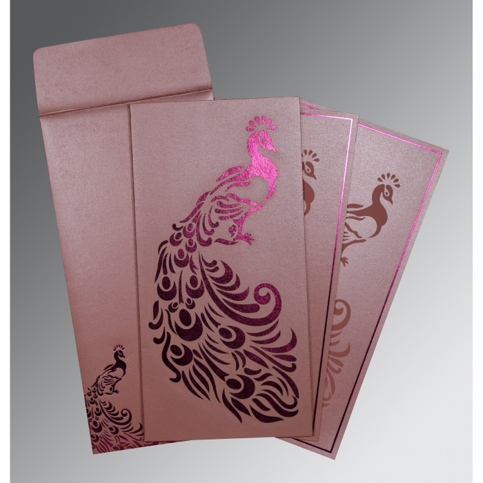 Pink Shimmery Peacock Themed - Laser Cut Wedding Invitation : IN-8255B - 123WeddingCards