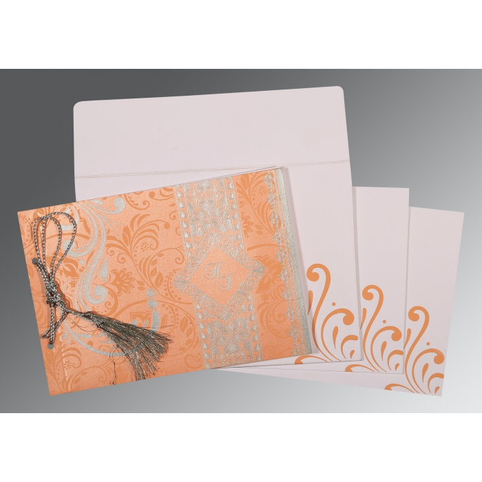 SWEET NECTAR SHIMMERY SCREEN PRINTED WEDDING CARD : C-8223N - 123WeddingCards