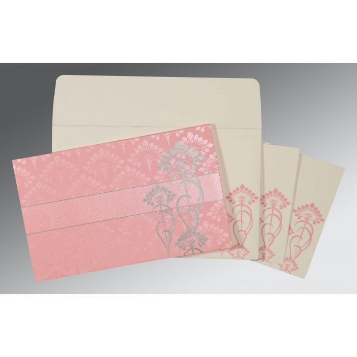 PASTEL PINK SHIMMERY SCREEN PRINTED WEDDING CARD : C-8239J - 123WeddingCards