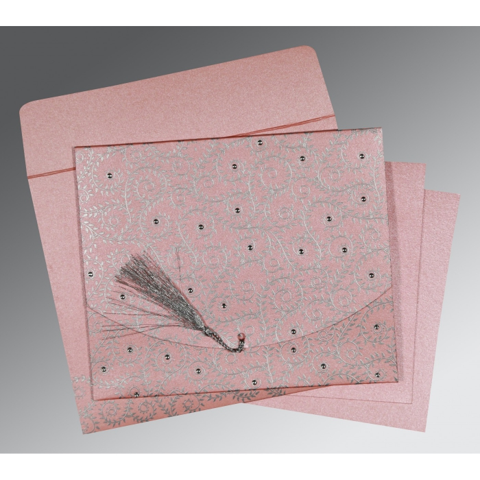 Pink Shimmery Screen Printed Wedding Invitations : D-8217E - 123WeddingCards