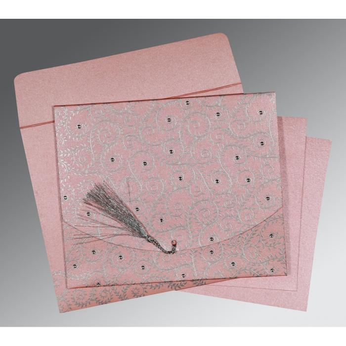 Pink Shimmery Screen Printed Wedding Invitation : G-8217E - 123WeddingCards