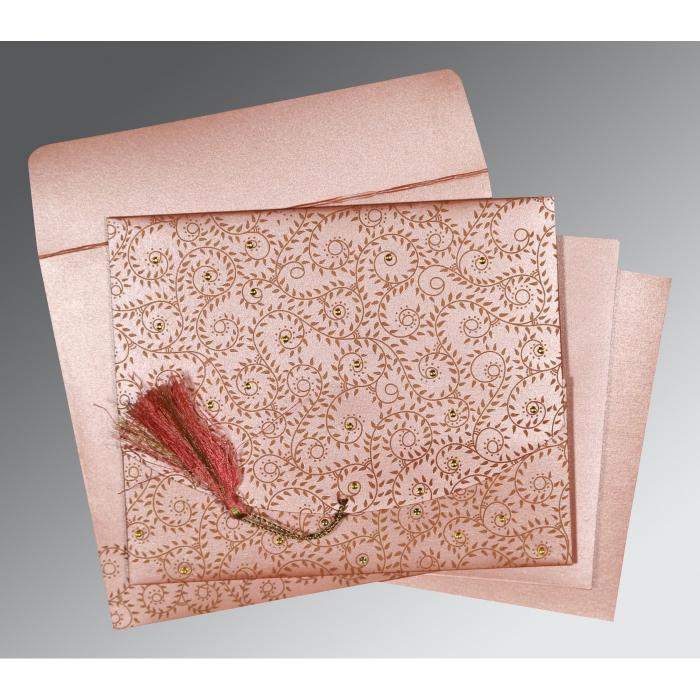 Pink Shimmery Screen Printed Wedding Invitation : RU-8217N - 123WeddingCards