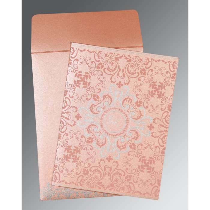Pink Shimmery Screen Printed Wedding Card : RU-8244A - 123WeddingCards