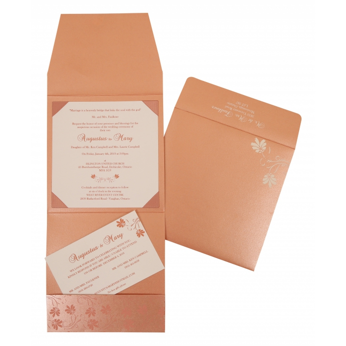 SALMON SHIMMERY SCREEN PRINTED WEDDING INVITATION : W-803C - 123WeddingCards