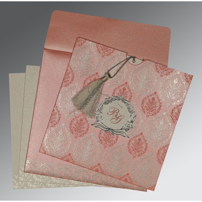 PEACH SHIMMERY UNIQUE THEMED - FOIL STAMPED WEDDING CARD : C-8249H - 123WeddingCards