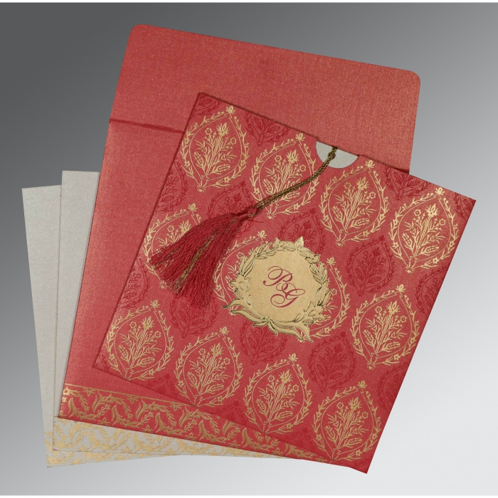 BRICK RED SHIMMERY UNIQUE THEMED - FOIL STAMPED WEDDING CARD : D-8249K - 123WeddingCards