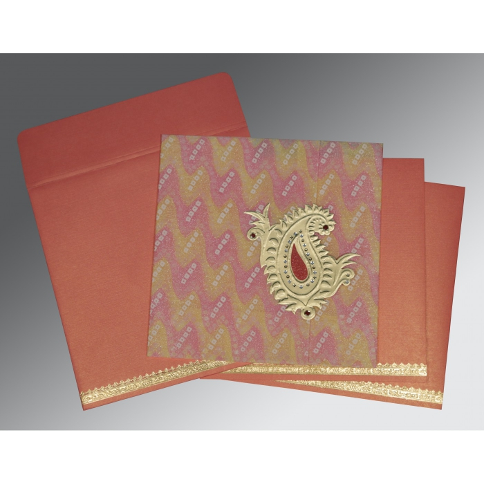RED WOOLY EMBOSSED WEDDING INVITATION : D-1324 - 123WeddingCards