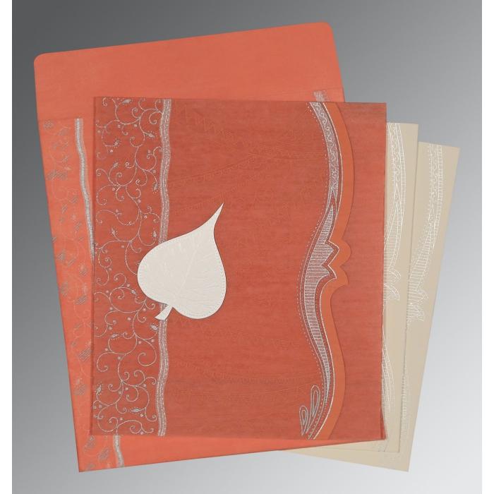 Pink Wooly Embossed Wedding Card : D-8210M - 123WeddingCards