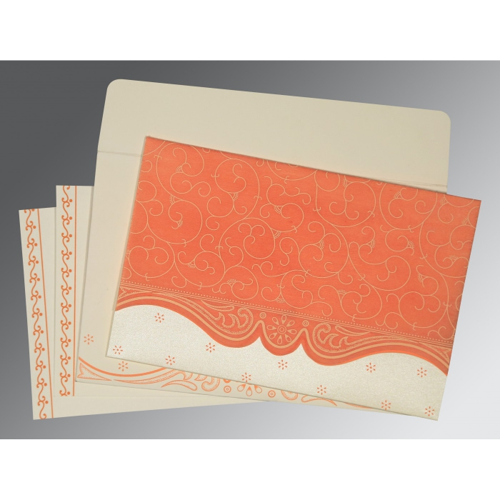 PEACH MATTE EMBOSSED WEDDING INVITATION : D-8221B - 123WeddingCards