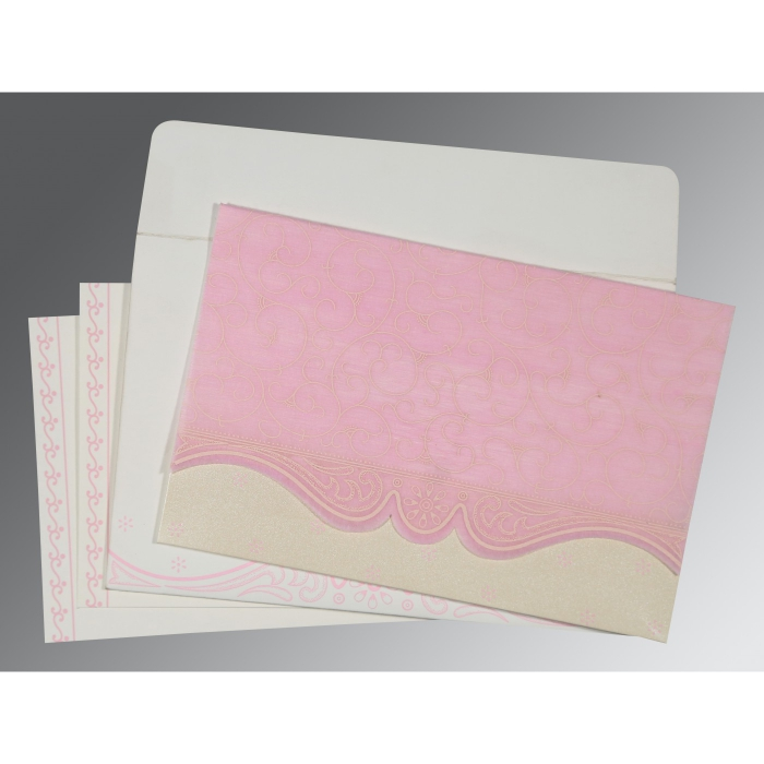 PINK MATTE EMBOSSED WEDDING INVITATION : D-8221M - 123WeddingCards