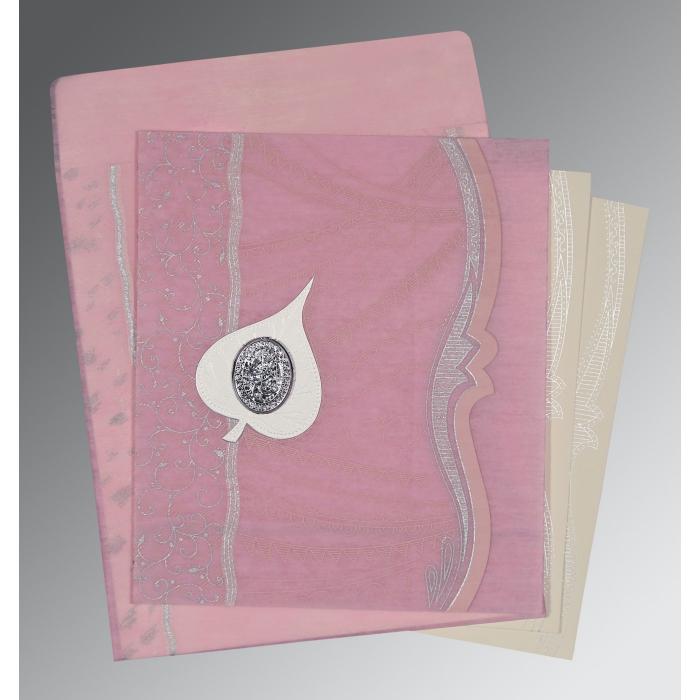 Pink Wooly Embossed Wedding Invitations : I-8210B - 123WeddingCards
