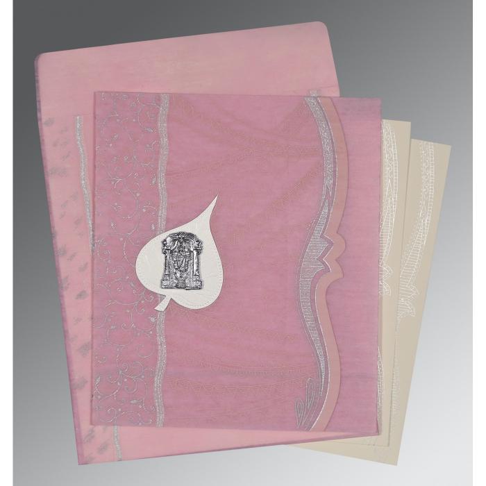 Pink Wooly Embossed Wedding Card : SO-8210B - 123WeddingCards