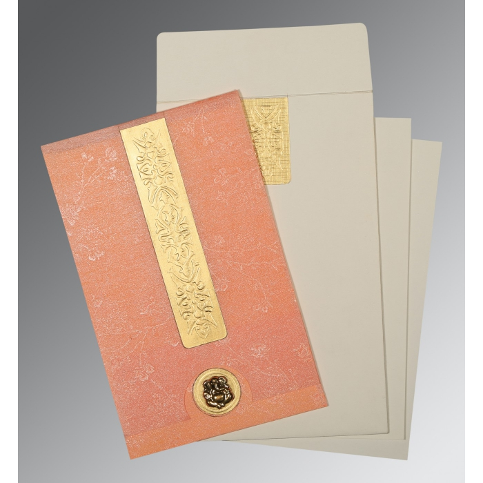 SALMON SHIMMERY EMBOSSED WEDDING INVITATION : W-1221 - 123WeddingCards