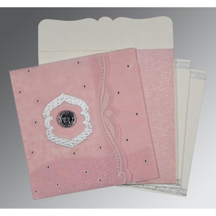 Pink Wooly Floral Themed - Embossed Wedding Card : RU-8209H - 123WeddingCards