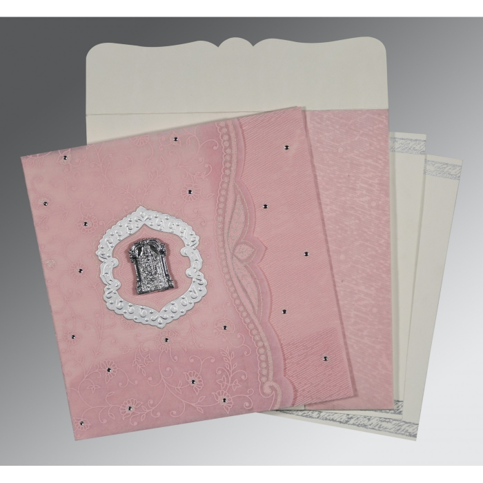 Pink Wooly Floral Themed - Embossed Wedding Card : SO-8209H - 123WeddingCards