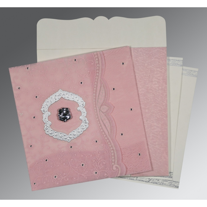 Pink Wooly Floral Themed - Embossed Wedding Card : W-8209H - 123WeddingCards