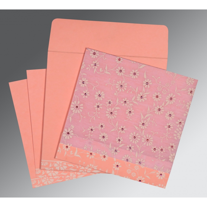 Pink Wooly Floral Themed - Screen Printed Wedding Card : CD-8222E - 123WeddingCards