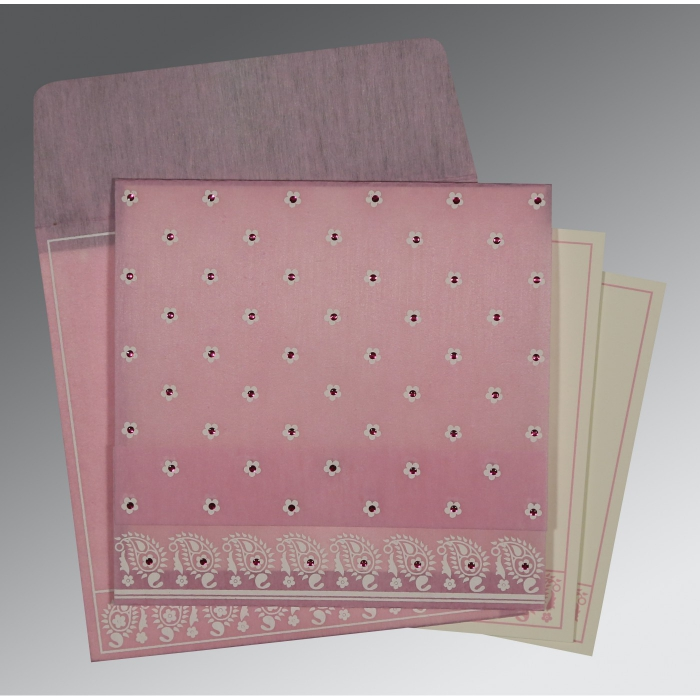 Pink Wooly Floral Themed - Screen Printed Wedding Card : I-8218J - 123WeddingCards