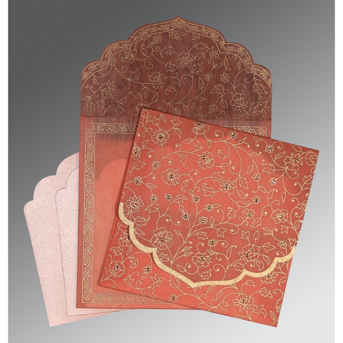 Pink Wooly Floral Themed - Screen Printed Wedding Invitation : S-8211J - 123WeddingCards