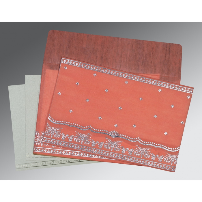 CORAL WOOLY FOIL STAMPED WEDDING INVITATION : C-8241G - 123WeddingCards