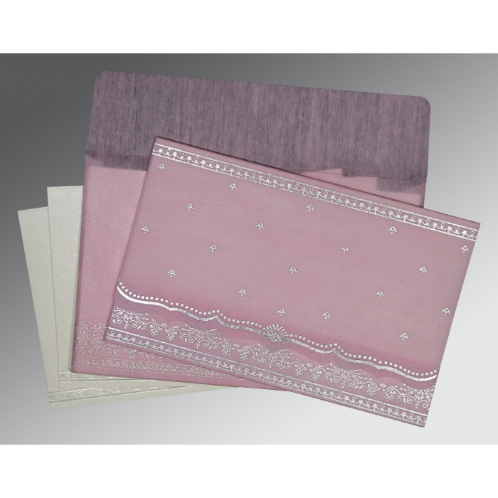 BABY PINK WOOLY FOIL STAMPED WEDDING INVITATION : D-8241E - 123WeddingCards