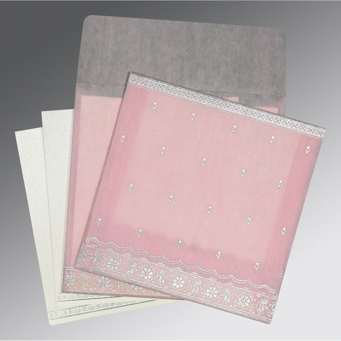 BABY PINK WOOLY FOIL STAMPED WEDDING CARD : D-8242N - 123WeddingCards