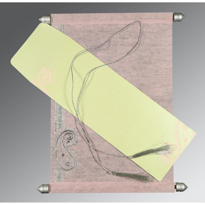 Pink Wooly Foil Stamped Wedding Card : SC-5015D - 123WeddingCards
