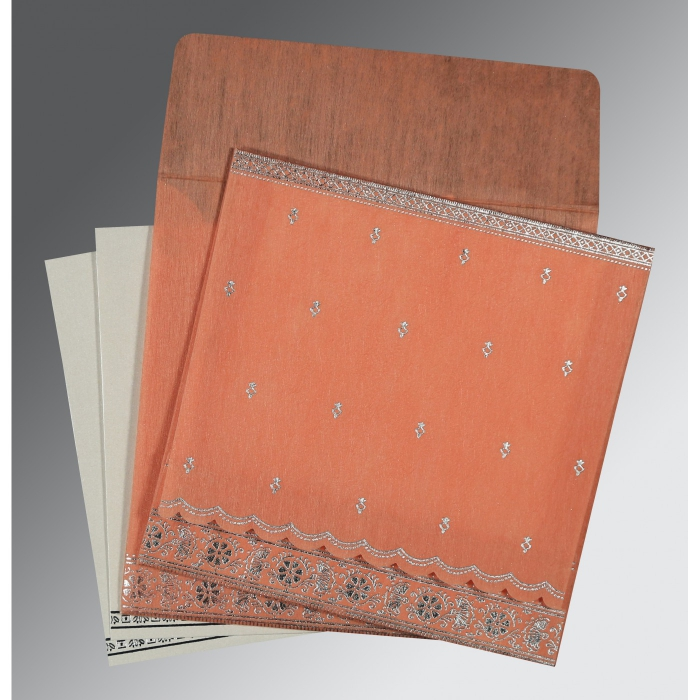 CORAL WOOLY FOIL STAMPED WEDDING CARD : W-8242L - 123WeddingCards