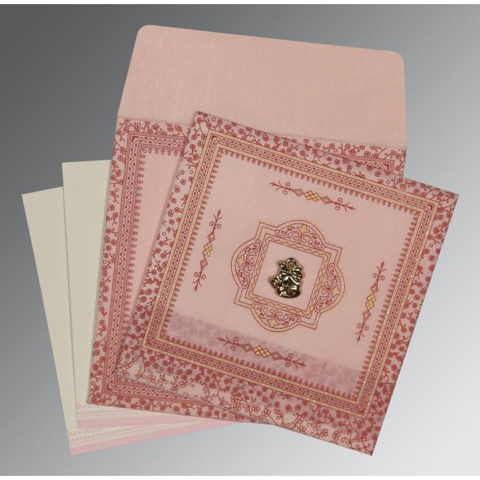 Pink Wooly Glitter Wedding Card : C-8205J - 123WeddingCards