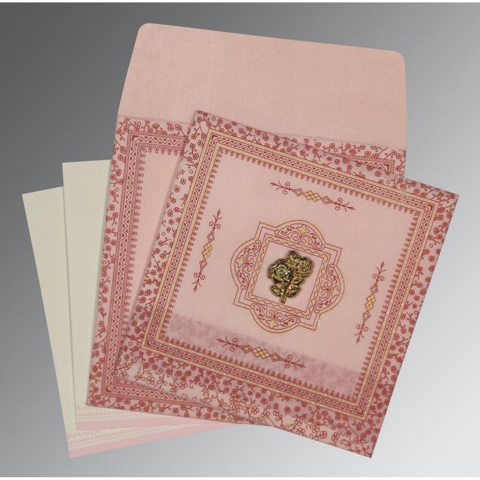 Pink Wooly Glitter Wedding Card : I-8205J - 123WeddingCards