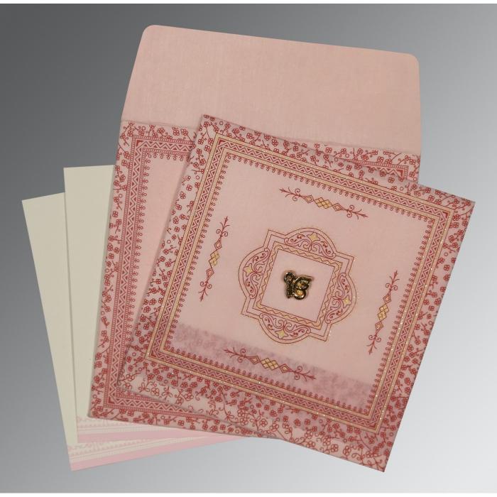 Pink Wooly Glitter Wedding Card : RU-8205J - 123WeddingCards