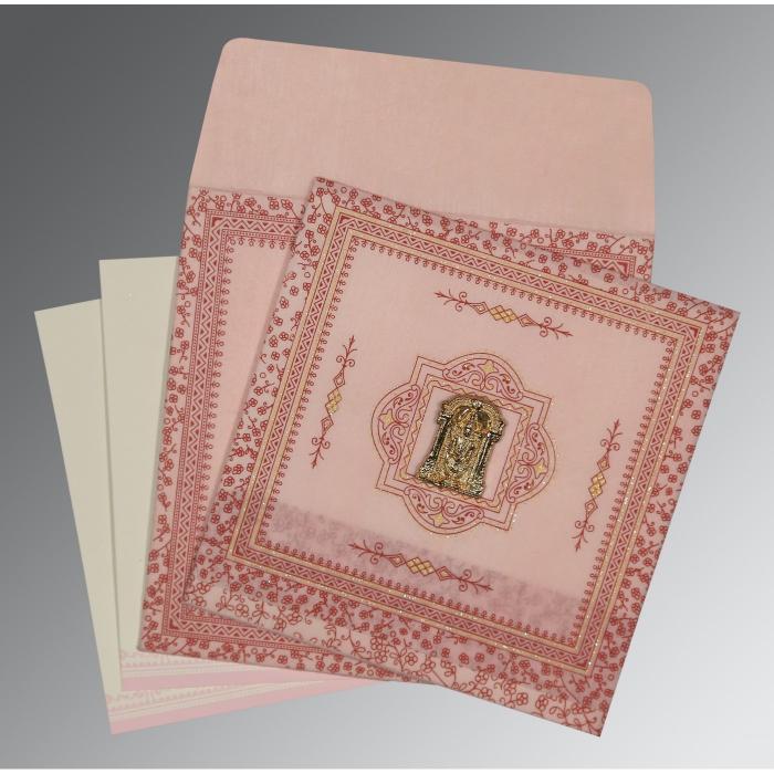 Pink Wooly Glitter Wedding Card : SO-8205J - 123WeddingCards