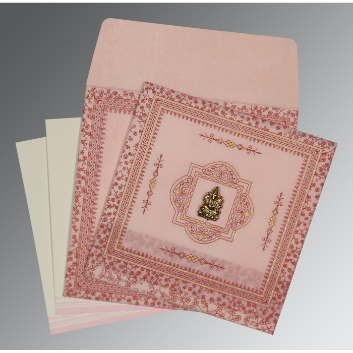 Pink Wooly Glitter Wedding Card : W-8205J - 123WeddingCards