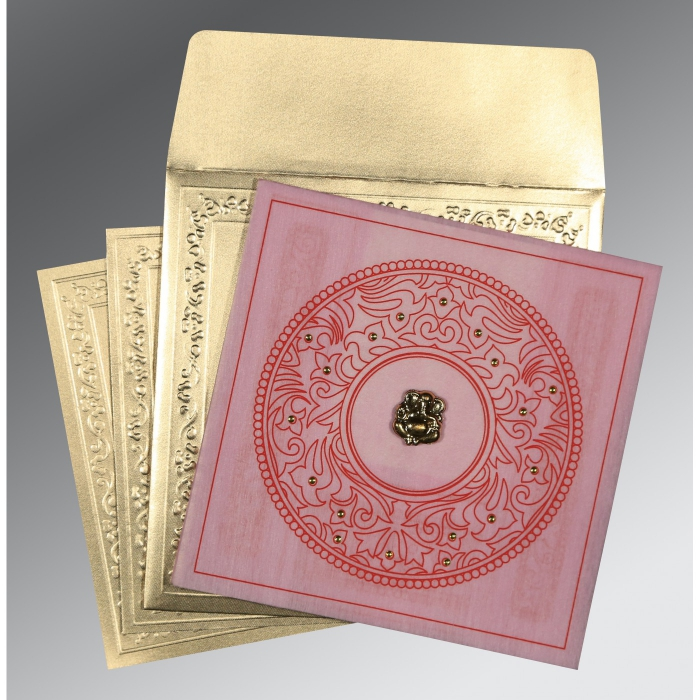 Pink Wooly Screen Printed Wedding Invitations : IN-8214F - 123WeddingCards