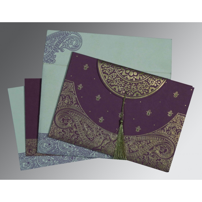 Purple Handmade Cotton Embossed Wedding Card : C-8234D - 123WeddingCards