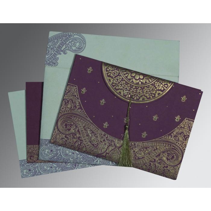 Purple Handmade Cotton Embossed Wedding Invitations : RU-8234D - 123WeddingCards