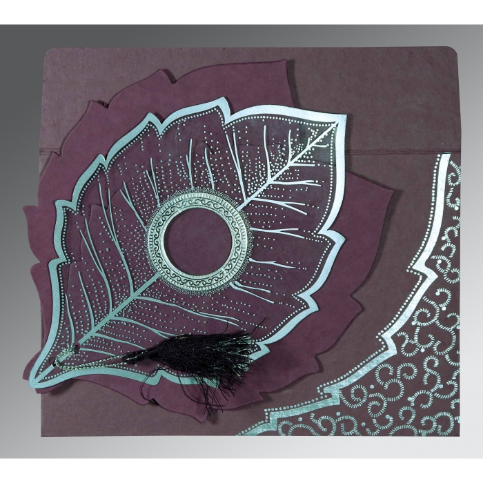 Purple Handmade Cotton Floral Themed - Foil Stamped Wedding Card : S-8219O - 123WeddingCards