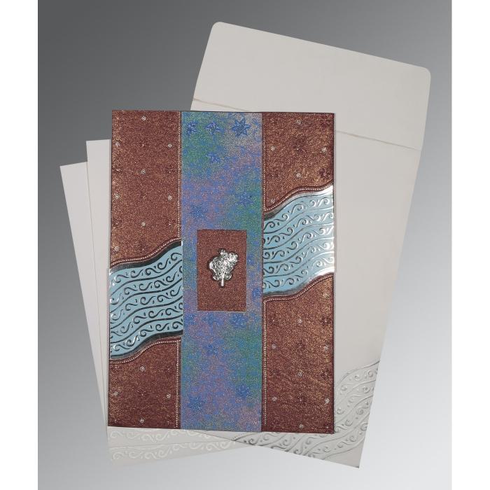 Purple Handmade Shimmer Foil Stamped Wedding Card : C-1375 - 123WeddingCards