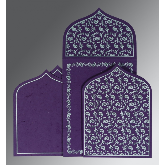 PURPLE HANDMADE SILK PAISLEY THEMED - GLITTER WEDDING INVITATION : C-8208D - 123WeddingCards