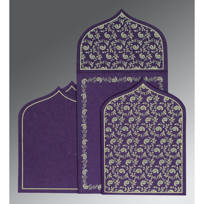 BLUE PURPLE HANDMADE SILK PAISLEY THEMED - GLITTER WEDDING INVITATION : D-8208M - 123WeddingCards