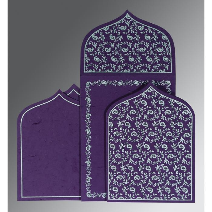 Purple Handmade Silk Paisley Themed - Glitter Wedding Invitation : S-8208D - 123WeddingCards