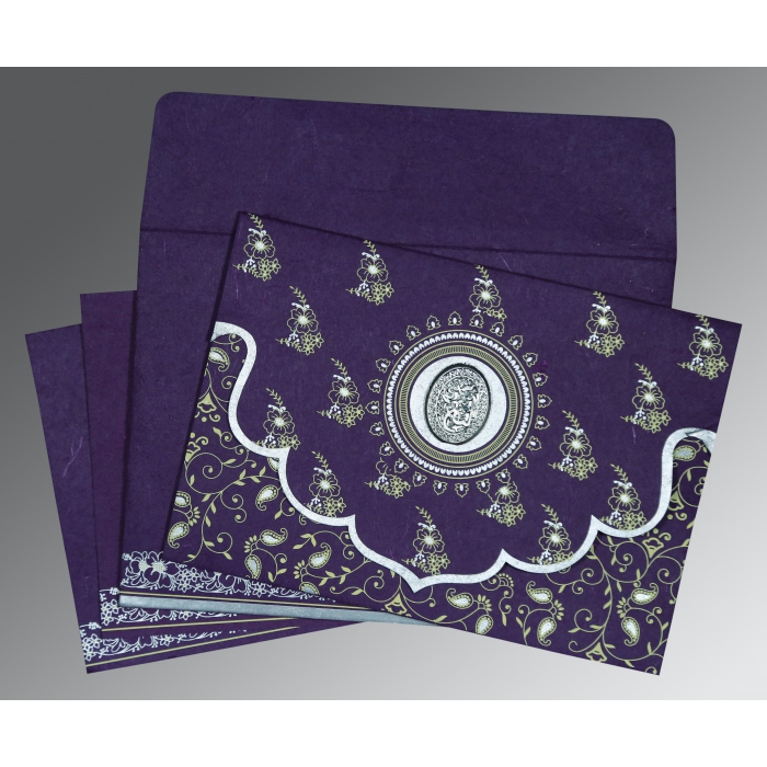 Purple Handmade Silk Screen Printed Wedding Invitations : I-8207G - 123WeddingCards