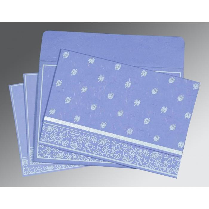 Purple Handmade Silk Screen Printed Wedding Card : RU-8215B - 123WeddingCards