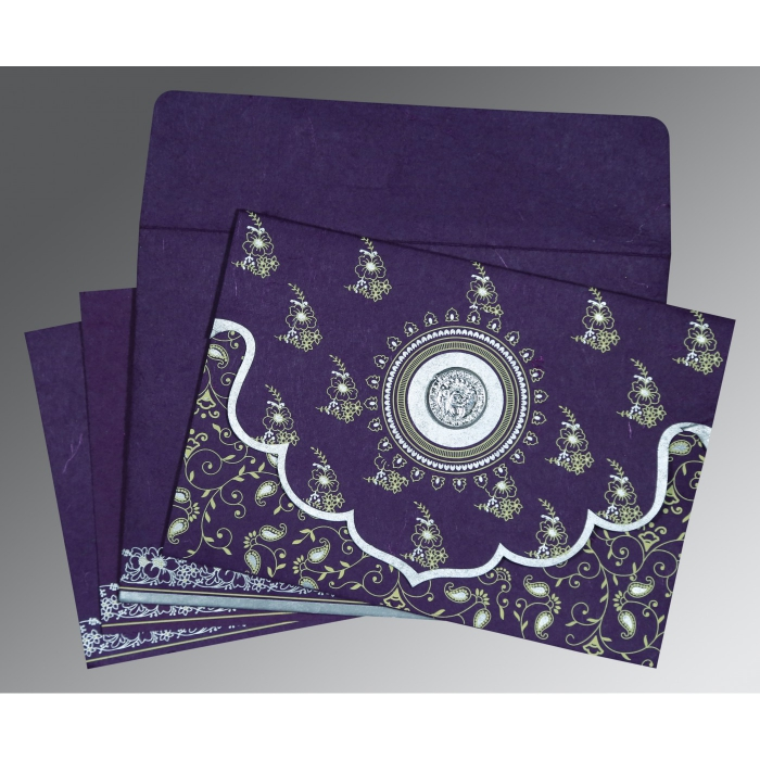 Purple Handmade Silk Screen Printed Wedding Invitation : S-8207G - 123WeddingCards
