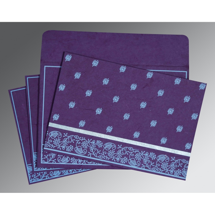 PURPLE HANDMADE SILK SCREEN PRINTED WEDDING CARD : W-8215G - 123WeddingCards
