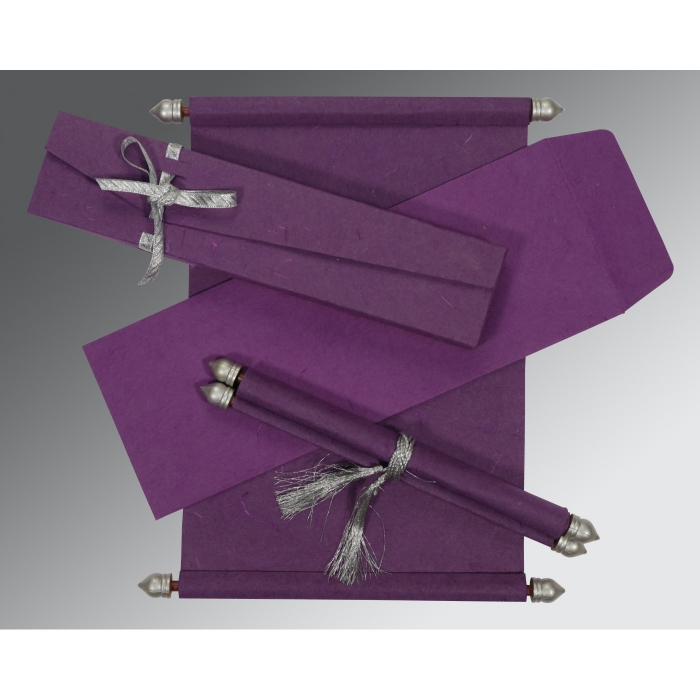 Purple Handmade Silk Wedding Card : SC-5001K - 123WeddingCards