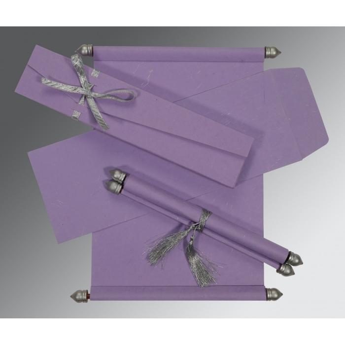 Purple Handmade Silk Wedding Card : SC-5001P - 123WeddingCards