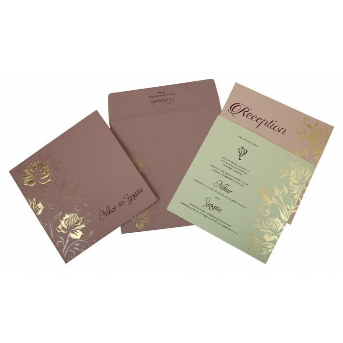Purple Matte Floral Themed - Embossed Wedding Invitation : W-1818 - 123WeddingCards