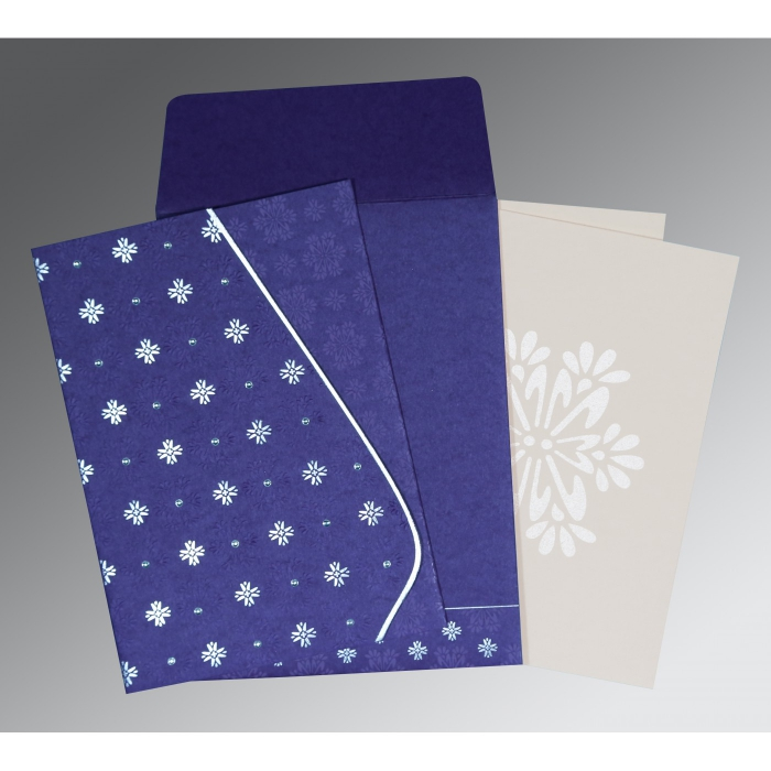 PURPLE MATTE FLORAL THEMED - FOIL STAMPED WEDDING INVITATION : IN-8237A - 123WeddingCards