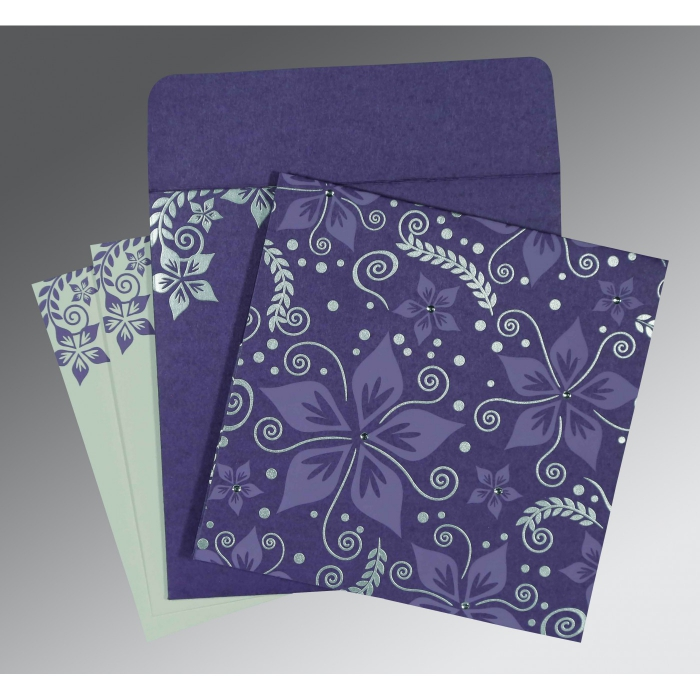 BLUE PURPLE MATTE FLORAL THEMED - SCREEN PRINTED WEDDING INVITATION : D-8240B - 123WeddingCards